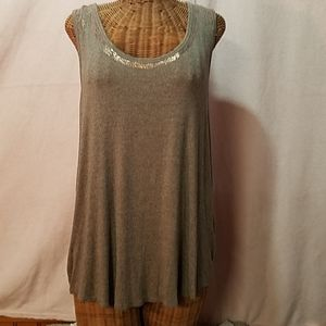 Taupe color tank top with copper accents